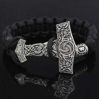 Norse Viking Knot Thor's Hammer Mjolnir Amulet Handmade Bracelet Mens