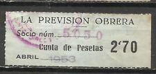 1800a-SELLO ESPAÑA CUOTA LA PREVISION OBRERA EN CATALAN Y CASTELLANO,1953