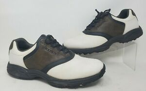 Footjoy Green Joys Flex Zone Brown White Leather Soft Spike Golf Shoes Men 9.5 M