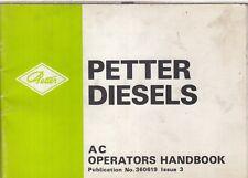 PETTER AC SERIES DIESEL ENGINE ORIGINAL 1984 OPERATORS HANDBOOK