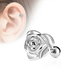 Tragus Ohr Helix Cartilage Piercing Stecker silber Herz Rose Blüte Flower Love