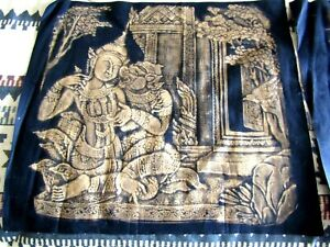 3 VINTAGE ON CLOTH GILDED PAINTINGS INDIA GODS SEMI EROTIC ESTATE SALE FIND