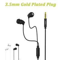 3.5mm Wired Headset Stereo Bass Earphones With Mic Earbuds Sleep Headphone US