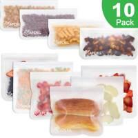 10PCS Thick Silicone Food Storage Bag Freezer Reusable Seal Ziplock Vacuum Fresh