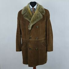 Mens XL UK46 Double Breasted Shearling Sheepskin Sherpa Real Leather Coat Jacket
