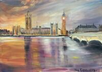 Print of Original oil painting art Westminster London impressionism shabby chic