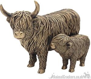 Large 26cm Leonardo Bronzed Highland Cow Mother & Calf ornament figurine, boxed