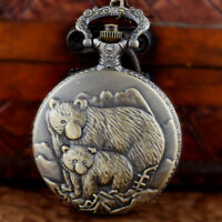 Bronze Bears Figure Antique Vintage Pocket Watch Chain Quartz Necklace Pendant
