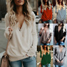 Women's Wrap V Neck Long Sleeve Shirt Ladies Knitted Sweater Jumper Blouse Tops
