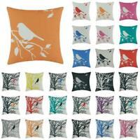 """18"""" Cotton Linen Cucoloris Bird Throw Pillow Case Cushion Cover Home Decor"""