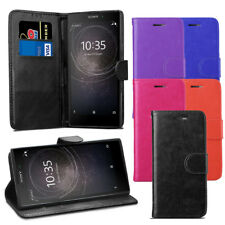 For Sony Xperia L2 Case - Premium Leather Wallet Flip Case Cover + Protector
