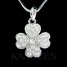 St. Patricks Day 4 Leaf Clover made with Swarovski Crystal Shamrock Necklace New