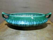 AUSTRALIAN POTTERY MELROSE DOUBLE HANDLED BOWL / FLOAT VASE TROUGH DRIP GLAZE