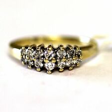 14k yellow gold ladies .42ct diamond anniversary ring womens 3.7g vintage estate