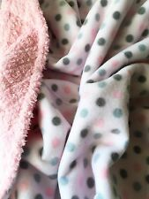 Pink Dotted Fleece w/ Minky Chenille Back 42X36 For Baby thru Child Sized Afghan