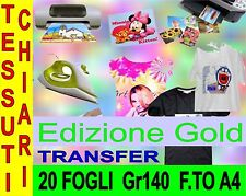 20 FOGLI A4 140 GR EDIZ GOLD TRASFERIMENT TERMICO STOFFE CHIARI STAMPANTE INKJET