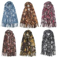 Women Lady Snake skin Cashmere Scarf Print Autumn Winter Warp Long Shawl