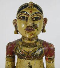 Hindu Goddess Carved Polychrome Statue Sari Krishna Radha Folk Art Temple yqz
