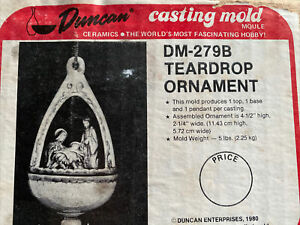 Vintage Duncan Molds DM-279 Teardrop Ornaments Ceramic Slip Casting Mold w Box