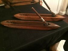 More details for antique rare loom shuttles, cotton mill, boat loom. shuttles, flying wooden, x 2
