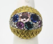 DAVID WEBB FANCY SAPPHIRE COCKTAIL RING 6.55 TCW 18K YELLOW GOLD & PLATINUM 5.5