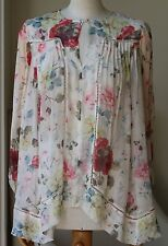 ZIMMERMANN MISCHIEF FLORAL-PRINT TUCK SWING BLOUSE TOP UK 6