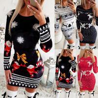 Women Christmas Long Sleeve Bodycon Dress Ladies Xmas Knitted Sweater Mini Dress