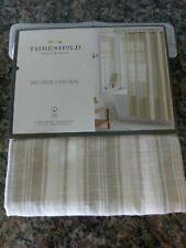 NEW! Threshold Tan Linen Stripe Shower Curtain Fabric