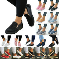 Women Slip On Pumps Canvas Loafers Flats Trainers Plimsolls Sneaker Plain Shoes