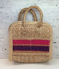 Vintage 60s Market Beach Basket Bag Woven Raffia Straw Mexico Tote Boho Retro #3