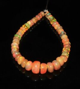Natural Ethiopian Welo Fire Opal Roundel Bead Demi strand