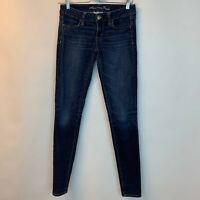 American Eagle AE Woman Pants Jeans Blue Denim Jegging Super Stretch sz 2 Long