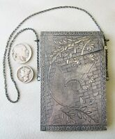 Antique Silver Chain Engraved Lattice Bird On Tree Chatelaine Compact Card Case