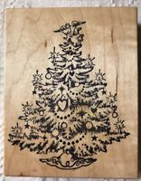 PSX Christmas Tree Decorated Rubber Stamp Wood Mounted Holiday Angel Large