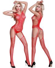 Sexy Red Multi Net Seamless Bodystocking, one size UK Delivary