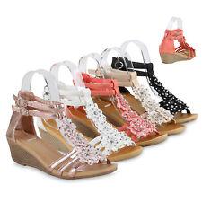 Damen Sandaletten Keilabsatz Blumen Strass Keilsandaletten 816323 Schuhe