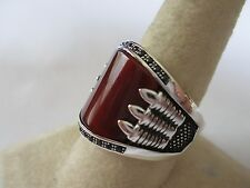 Gorgeous Bear Claw style sterling silver Carnelian men's ring 925 new style sz 9