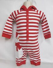 REDENVELOPE BABY LONG JOHNS / ONESIE RED & WHITE STRIPED W/ SNOWMAN 0-6 LT 847AW