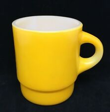 Mug Fire King Yellow C Handle Anchor Hocking USA Vintage Stackable Coffee
