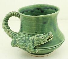 HELLFIRE Green Crocodile Mug Squat Shape Australian Pottery