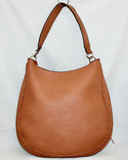 REBECCA MINKOFF Unlined Whipstitch Convertible Hobo Shoulder Bag Tan Pebble Lthr