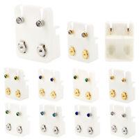 2x Surgical Steel Crystal Ear Studs Kit Piercing Tool Ear Earring Stud Jewelry