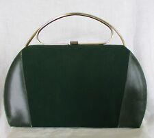 New listing Vintage 1960's Green Leather & Suede Handbag Purse