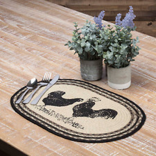 SAWYER MILL POULTRY Jute Oval Placemat Set/6 Braided Farmhouse Black Stencil