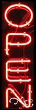 "Brand New ""Open"" 24x8x3 Vertical Real Neon Sign 12270"