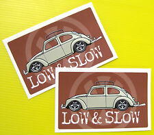 VW Retro vintage style 'LOW & SLOW' Stickers x2 Decals early Beetle