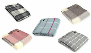Tweedmill Pure New Wool Block Check Throw - Various Colours