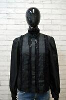 LUISA SPAGNOLI Donna Camicia Nera Taglia L Camicetta Maglia Shirt Women Casacca