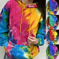 Women Plus Size Tie-Dye Print Pullover Long Sleeve Hooded Tops Sweatshirt UK
