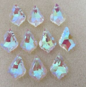 Faceted Glass Briolette Top Drilled Beads, Clear AB, 22x16x8mm, jewellery making